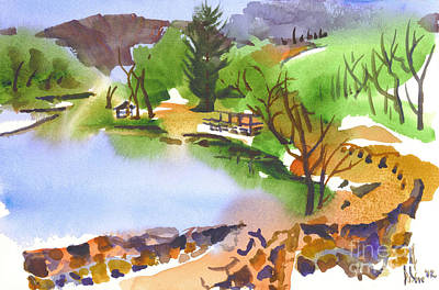 Early Spring Painting - Lake Killarney With Rock Wall by Kip DeVore