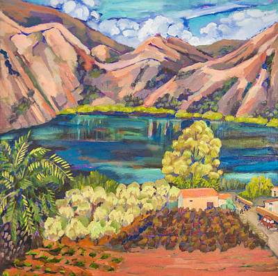 Painting - Lake Kournas Crete by Doris  Lane Grey