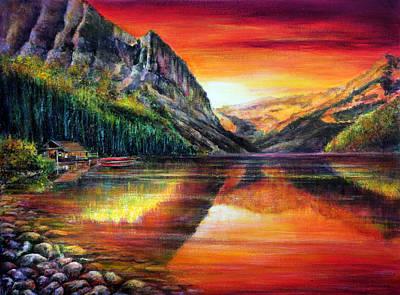 Rainbow Painting - Lake Louise by Ann Marie Bone