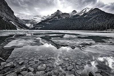Photograph - Lake Louise - Black And White #2 by Stuart Litoff