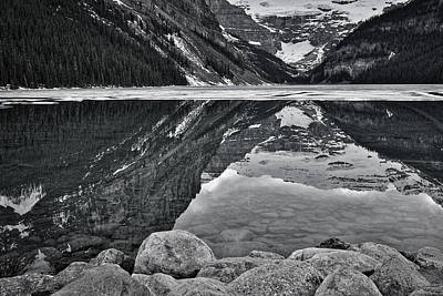 Photograph - Lake Louise - Black And White by Stuart Litoff
