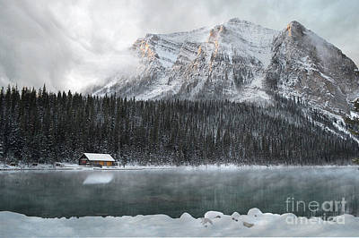 Lake Louise Cabin Morning Print by Andrea Hazel Ihlefeld