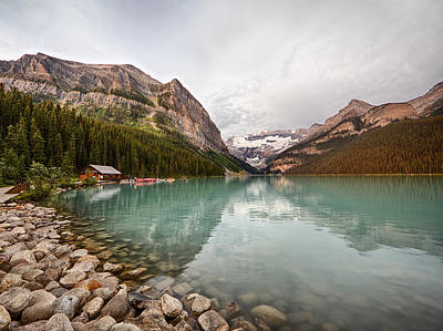 Lake Louise Canoe Rental Art Print