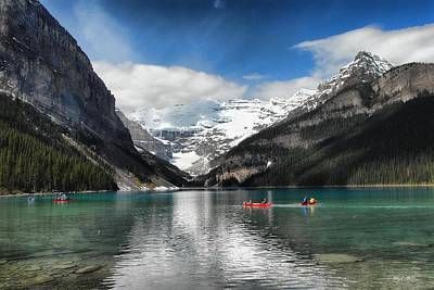 Photograph -  Canoers On Lake Louise by Dyle   Warren