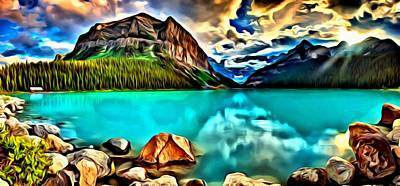 Banff Canada Painting - Lake Louise From Banff Canada by Florian Rodarte