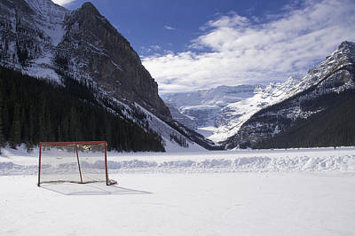 Lake Louise Hockey Net Art Print by Bill Cubitt