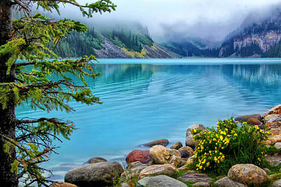Photograph - Lake Louise On A Cloudy Day by Carolyn Derstine
