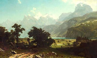 Snow Covered Trees Digital Art - Lake Lucerne by Albert Bierstadt