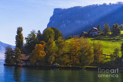 House On The Hill Photograph - Lake Lucerne Fall Morning by George Oze