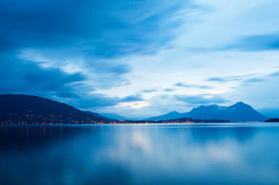 Photograph - Lake Maggiore Blue Sunrise by Susan Schmitz