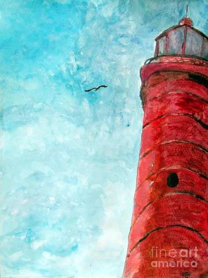 Lake Michigan Red Lighthouse Print by Ayasha Loya
