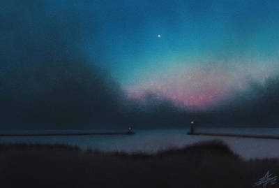 Painting - Lake Michigan With Evening Star by Robin Street-Morris