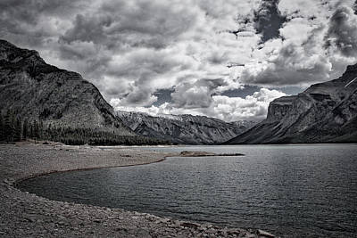 Photograph - Lake Minnewanka - Black And White by Stuart Litoff
