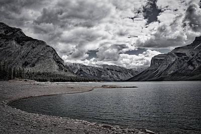 Photograph - Lake Minnewanka - Black And White by Stuart Litoff