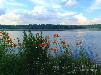 Photograph - Lake Muscenetcong And Wild Flowers In Netcong New Jersey by Becky Lupe
