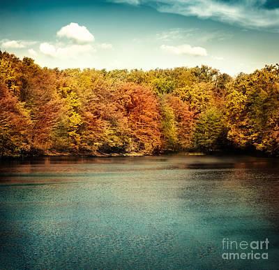 Lake Nature Landscape Art Print by Mythja  Photography