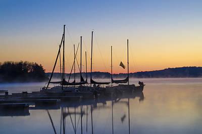 Bot Digital Art - Lake Nockamixon Marina At Sunrise by Bill Cannon