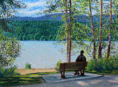 Painting - Lake Padden - Schwartz Bench by Nick Payne