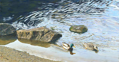 Painting - Mallard - Drake And Hen by Nick Payne