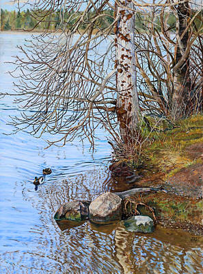 Painting - Lake Padden - View Near Scott Memorial Bench by Nick Payne