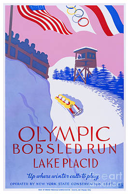 Bobsled Painting - Lake Placid Olympic Bobsled Run - Wpa Poster - 1937 by Pablo Romero