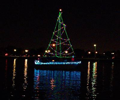 Photograph - West End Boat Parade - Lights On The Lake, Lake Pontchartrain, New Orleans La by Deborah Lacoste