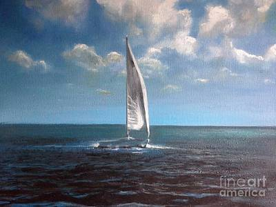 From New Orleans Painting - Lake Pontchartrain Sailboat by Ralph Songy