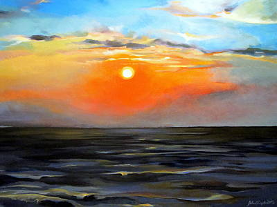 Painting - Lake Pontchartrain Sunset  by John  Duplantis