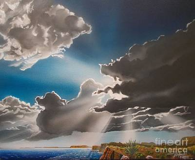 Sun Rays Painting - Lake Powell Clouds by Jerry Bokowski