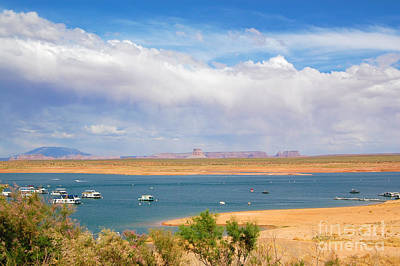 Photograph - Lake Powell Resort Tower Rock And Storm by Debra Thompson