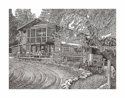 Drawing - Lake Roberts N M  Gen Store by Jack Pumphrey