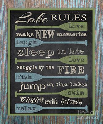 Lake Rules-blue Wood Original