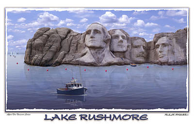 Mount Rushmore Digital Art - Lake Rushmore by Mike McGlothlen