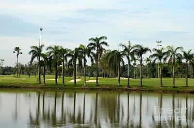 Lake Sand Traps Palm Trees And Golf Course Singapore Art Print