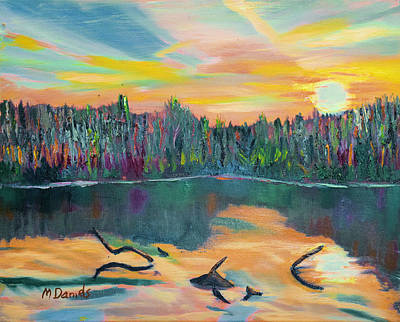 Painting - Lake Schwartzwood Sunset by Michael Daniels