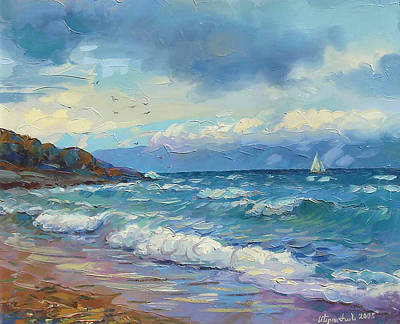 Painting - lake Sevan at stormy weather by Meruzhan Khachatryan