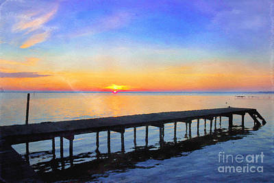 Lake Waccamaw Photograph - Lake Sunrise - Watercolor by Scott Hervieux