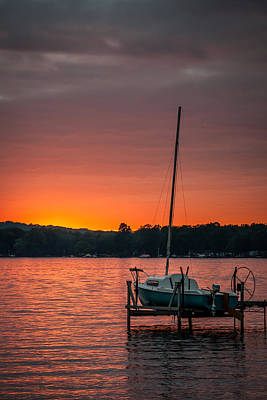 Chautauqua Lake Photograph - Lake Sunset And Sailboat by At Lands End Photography
