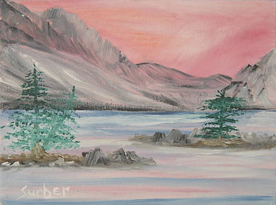 Sun Rays Painting - Lake Sunset by Suzanne Surber