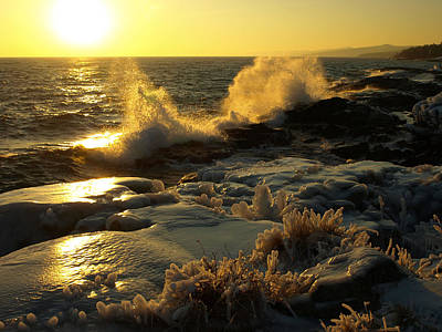Lake Superior Winter Sunset Original by James Peterson