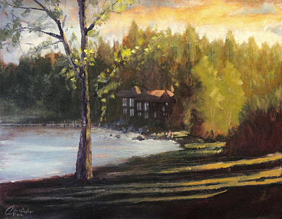 Clarks Hill Lake Painting   Lake Tahoe Cabin II By Christopher Clark