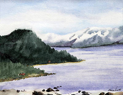 Lake Tahoe Painting - Lake Tahoe In Snow by Maria Hunt