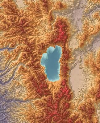 Boardroom Digital Art - Lake Tahoe Map Art by Paul Hein