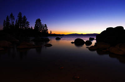 Beach Lake Tahoe Photograph - Lake Tahoe Sand Harbor Sunset Silhouette by Scott McGuire