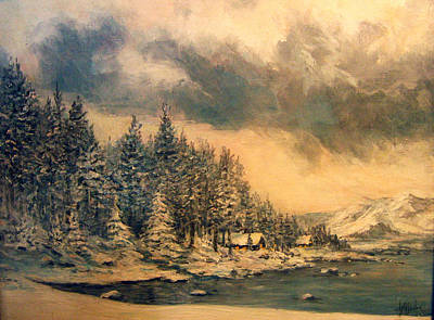 Art Print featuring the painting Lake Tahoe Winter Colors 2 by Donna Tucker