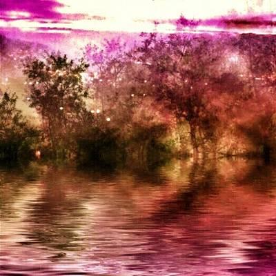 Manipulation Photograph - #lake #trees #reflection #manipulation by Angela Bruno