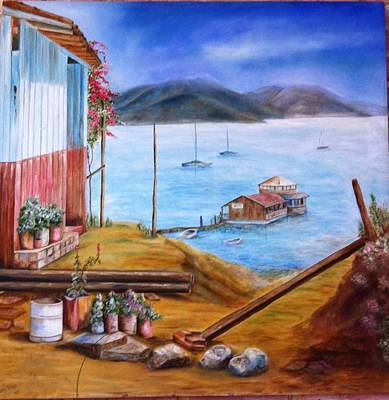 Painting - Lake Valle De Bravo Mexico by Nora Vega