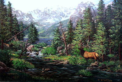 Painting - Lake Verna Elk by W  Scott Fenton
