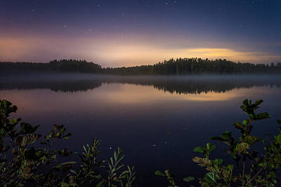 Lake View At Night Art Print