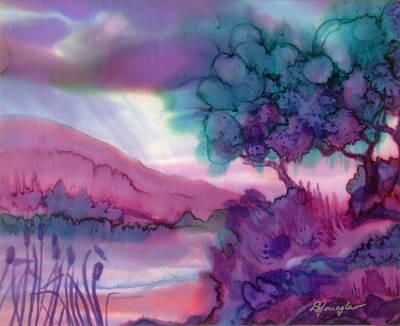 Fiber Art Painting - Lake View by Deborah Younglao
